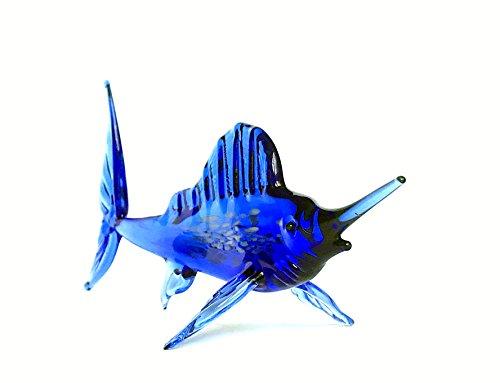 Marlin Blau - Fisch Figur aus Glas - Deko Vitrine Glasfisch Schwertfisch