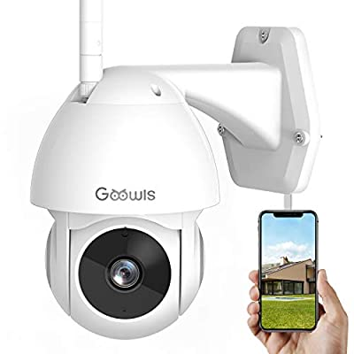 Security Camera Outdoor, Goowls 1080P HD WiFi Home Surveillance IP Camera Wireless with Pan/Tilt 360° View Waterproof Night Vision 2-Way Audio Motion Detection Activity Alert Cloud Service