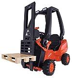 BIG Spielwarenfabrik Big-56580 - Linde Forklift - Kindergabelstapler, Spielfahrzeug mit Präzisionskettenantrieb, verstellbarer Sitz, bis 50 kg, Linde Lizenz, für Kinder ab 3 Jahren