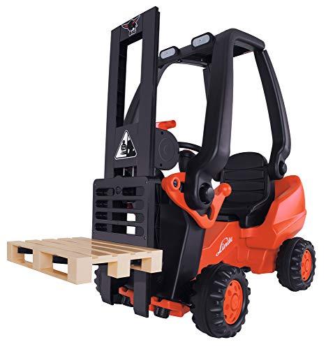 BIG - Linde Forklift - Kindergabelstapler, Spielfahrzeug mit Präzisionskettenantrieb, verstellbarer Sitz, bis...