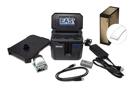 "LABELWORKS LW-Z5010PX-B Industrial Label Maker and Bonus Bulk 1"" Black on White Vinyl Tape - Complete Printer Kit with Accessories, Bulk Label Roll B224VTBWPX, Desktop Label Printer"