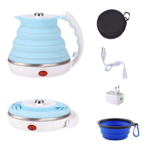 Suteck Collapsible Kettle Travel Electric Kettle Small Boil Dry Protection Dual Voltage 110/220V Universal Converter US Plug 555ML Foldable Kettle
