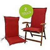 Indoba Premium Sitzauflage extra dick Hochlehner Rot Polsterauflage Sitzpolster Stuhl Garten Gartenstuhl Auflage