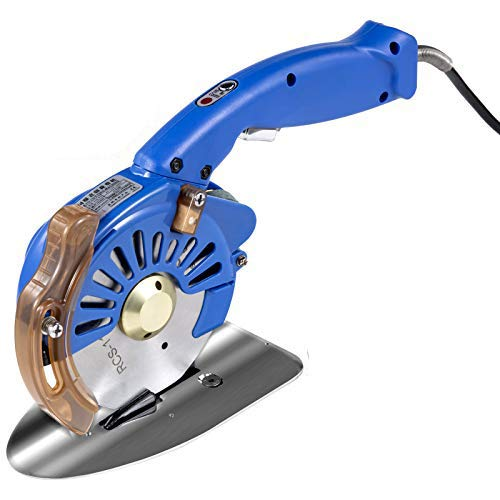 VEVOR Fabric Cutter 110mm Rotary Fabric Cutter 32mm Cutting Height Blue Electric Rotary Cutter All-Copper Motor with Low Noise Adjustable Speed Electric Scissors for Cutting Fabric and Leather