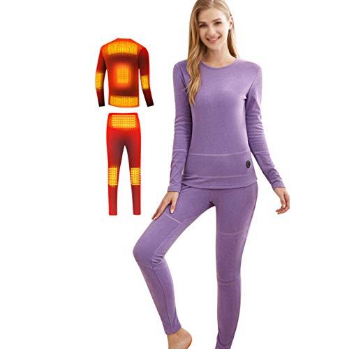 W-Lynn Unterwäsche-Anzug für Herren- und Damen-Elektroheizung, USB-Aufladung Heizunterwäsche, 3 temperaturverstellbar, 8-Zonen-Heizung, 2 Mobile Netzteile mit 10000 mAh,PurpleB-M