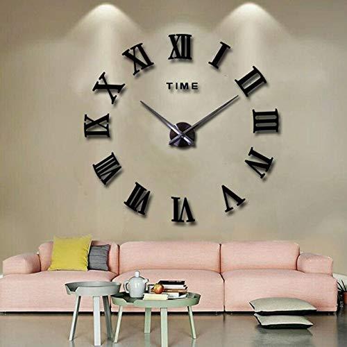 Mdsfe Large Home Wall Clock 3D DIY Clock Acrylic Mirror Stickers Home Decoration Living Room Quartz Needle Self Adhesive Hanging Watch - Black 2,40-60cm