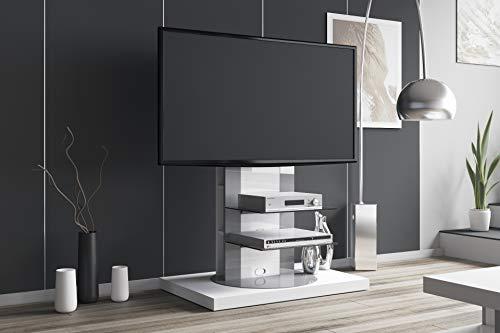 HU Fernsehtisch Roma H-777nw Schwarz oder Weiß Hochglanz 360° drehbar TV Möbel TV Rack LCD inkl. TV-Halterung (Weiß Hochglanz)