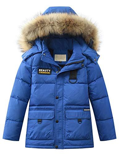 Echinodon Jungen Daunenjacke mit Abnehmbarer Fellkapuze Kinder Winter Jacke Winterjacke Kapuzenjacke Parka Blau 160