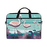 Ahomy - Bolsa para portátil de 13,3-14 Pulgadas, diseño de flamencos de Playa con Hoja Tropical y Correa Ajustable para el Hombro