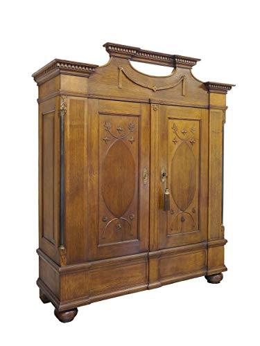 Antiker Kleiderschrank Klassizismus um 1800 aus Eiche massiv | Dielenschrank Garderobenschrank | 2-türig | B: 183 cm (9406)