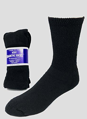 Creswell Diabetic Socks, 1 Dozen Pairs, Crew Length, Size 10-13 Large, White