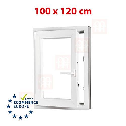 Kunststofffenster | 100x120 cm (1000x1200 mm) | weiß | Dreh-Kipp-Fenster | links