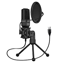 Uhuru UM-SF777 USB Condenser Gaming Microphone, Computer Mic Kit for Recording Podcasting with Tripod Stand and Pop Filter (Black),Uhuru,UM-SF777