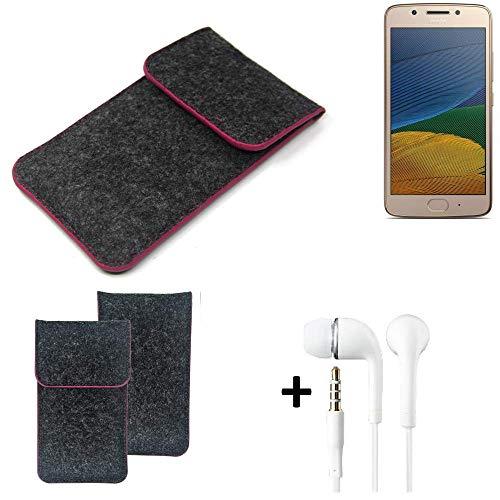 K-S-Trade Filz Schutz Hülle Für Lenovo Moto G5 Single-SIM Schutzhülle Filztasche Pouch Tasche Handyhülle Filzhülle Dunkelgrau Rosa Rand + Kopfhörer