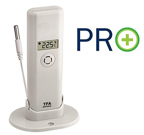 TFA Dostmann 30.3313.02 WeatherHub T Display Sender mit Kabel, ohne Batterie weiß, FE-TFA, Black