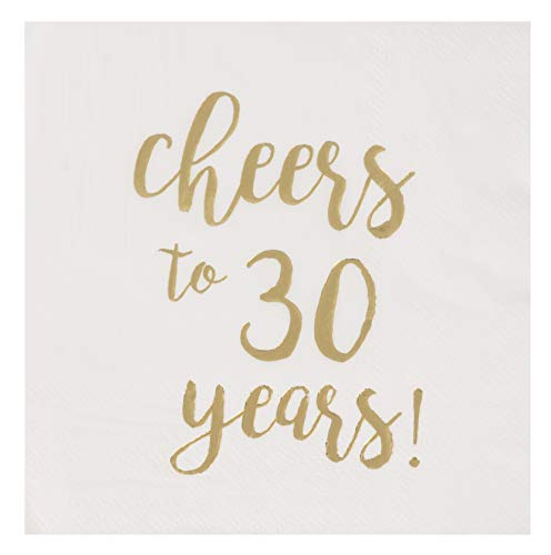 Gold Foil Cheers to 30 Years White Cocktail Paper Napkins (5 x 5 In, 50 Pack)