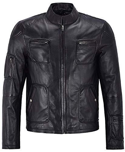 Fashion_First Herren Motorradjacke Chris Pine James Star schwarz Leder Oberbekleidung Gr. XX-Large, Schwarz