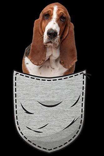 Basset Hound Brust-Tasche Pocket Hundebesitzer: DIN A5 Liniert 120 Seiten / 60 Blätter Notizbuch Notizheft Notiz-Block Hunde-liebhaber Gassi Spruch Motiv Geschenkidee