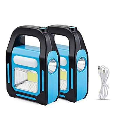 2 Pack 3 IN 1 Solar USB Rechargeable Brightest COB LED Camping Lantern, Charging for Device, Waterproof Emergency Flashlight LED Light