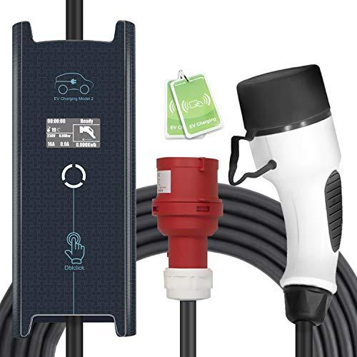MAX GREEN Typ 2 Tragbares EV-Ladekabel, 3 Phasen 6A-16A 11 kW einstellbare Ladestation für Elektrofahrzeuge Auto EVSE, 17 Fuß / 5 m