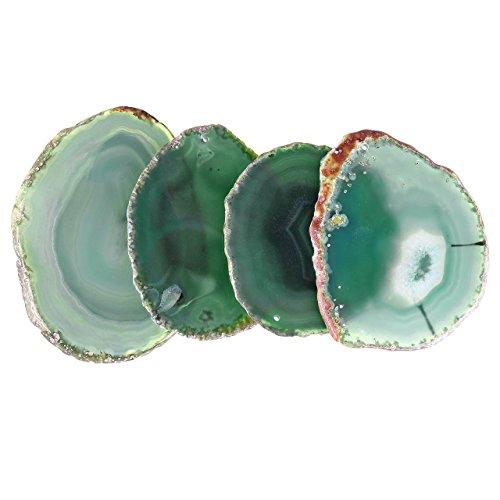 QGEM 4pics natürlich Achatscheibe Untersetzer Getränke-Untersetzer Glasuntersetzer unregelmäßige healing Kristall Agate Dekoration Getränk-Geschenk set 8-9cm(grün)