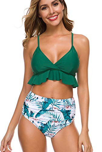 Two Piece Falbala Ruffle High Waisted Bikini Set -$9.19(60% Off with code)