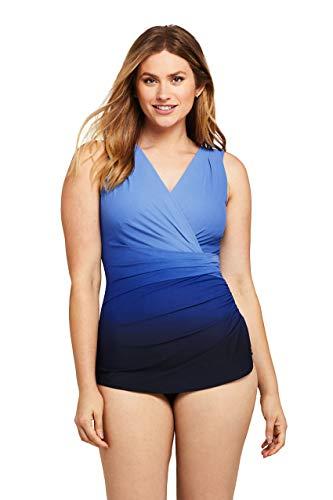 Lands' End Womens Slender Surplice Tunic One Piece Swimsuit Black/Persian Blue Ombre Regular 10