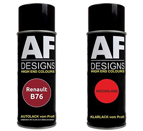 Autolack Spraydose Set für Renault B76 Rouge De FEU Metallic Basislack Klarlack Sprühdose 400ml