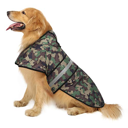 HDE Dog Raincoat Hooded Slicker Poncho for Small to X-Large Dogs and Puppies (Camo, X-Large)