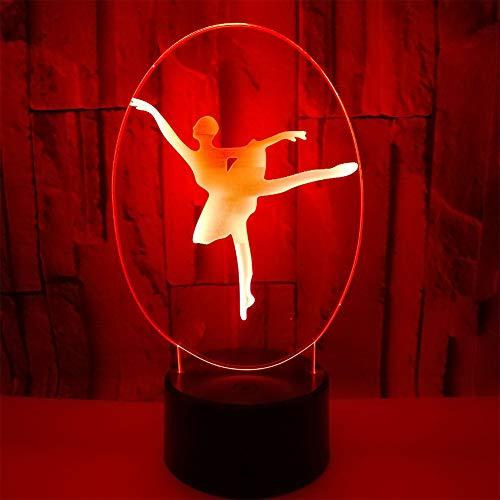 3D Illusion LED Night Light Lámpara De Escritorio con 7 Colores para Niños Juguetes para Niños Dormitorio Decoración del Hogar,Chica Bailarina De Ballet [Clase De Eficiencia Energética A++]