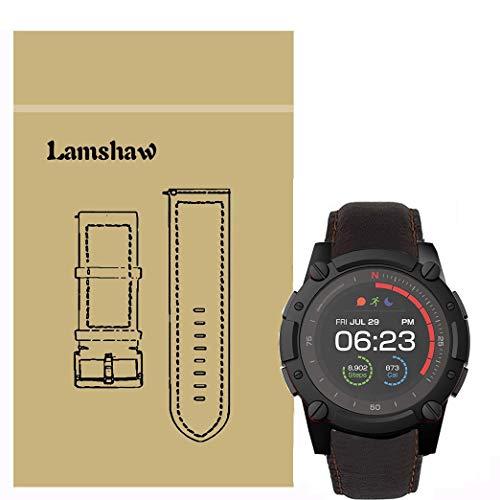LvBu Armband Kompatibel mit PowerWatch 2, Quick Release Leder Classic Ersatz Uhrenarmband für Matrix PowerWatch 2 Smartwatch (Coffee)