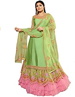 Women's Satin Georgette Fabric Heavy Embroidered and Diamond Work Lehenga Suit (LNF430, Green)