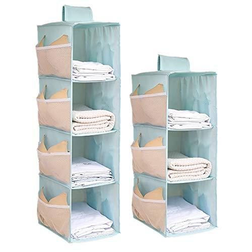 Organizador de armario colgante con bolsillos laterales, 3 y 4 estantes, organizador plegable para colgar ropa, pantalones, ropa...