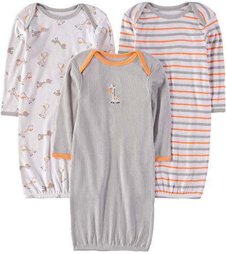 Wan-A-Beez Baby 3 Pack Printed Gown - Orange Giraffe, 0-6 Months