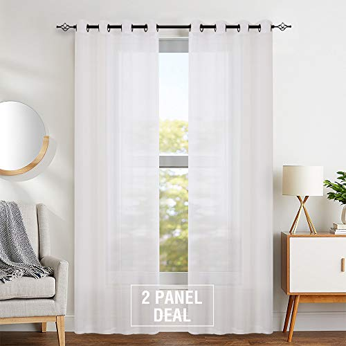 Sheer Curtains 95 inch for Bedroom White Window Curtain Drapes for Living Room Grommet Top Voile Window Treatment Sets 1 Pair
