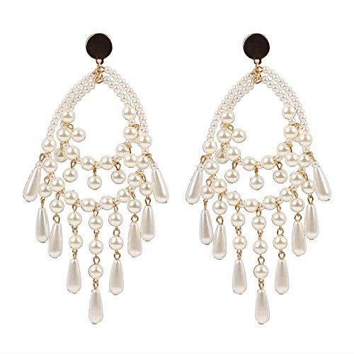 Pendientes Pendientes largos de lágrima blanca con perlas simuladas Pendientes colgantes de metal para mujer
