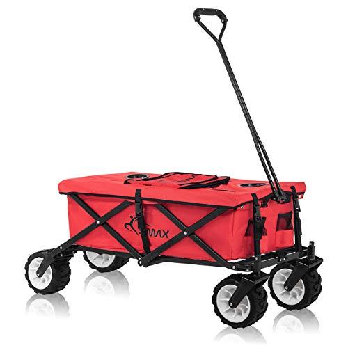 SAMAX Bollerwagen Handwagen Kühltasche Gartenwagen Strandwagen Klappbar Faltbarer Bollerwagen Transportwagen Offroad cool - Rot