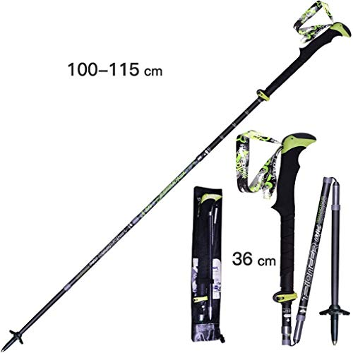 YDS SHOP outdoor bergbeklimmen outdoor camping trekkingstok carbon ultra light telescoop bergbeklimmen uitrusting wandelstok Black-(110-115cm)