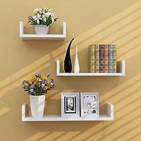 SAW SAQIB ALI WOODEN HANDICRAFTS Engineered Wood Glossy U Shaped Wall Rack Shelves for Living Room Decoration (4x16x4,...