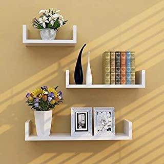 SAW SAQIB ALI WOODEN HANDICRAFTS Engineered Wood Glossy U Shaped Wall Rack Shelves for Living Room Decoration (4x16x4, 4x1...