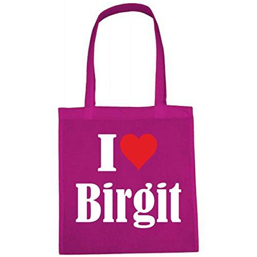 Tasche I Love Birgit Größe 38x42 Farbe Pink Druck Weiss