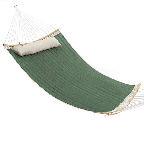 SONGMICS Hammock, Padded Double Hammock, Quilted Hammock with Hanging Straps, Detachable Curved Spreader Bars, Pillow, 78.7 x 55.1 Inches, Load Capacity 495 lb, Army Green and Beige UGDC034C01