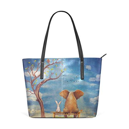 Eslifey Elephant And Rabbit Sit On Bench Portemonnaie PU Leder Schulter Tote-Tasche für Damen Mädchen Damen