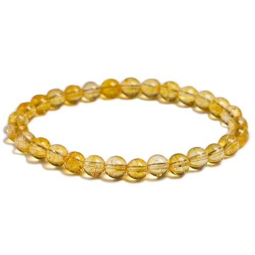 JIANGLAI Natural amarillo citrino piedra 6mm 8mm 10mm pulsera de cuentas hecho a mano joyería de cuarzo para mujer hombres unisex Stretch brazalete regal