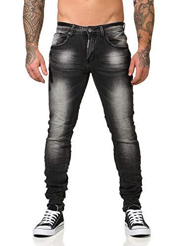CLEO STYLE Herren Jeans Hose Skinny Jeans Denim Stretch Freizeithose Herrenjeans 215 (38, Schwarz)