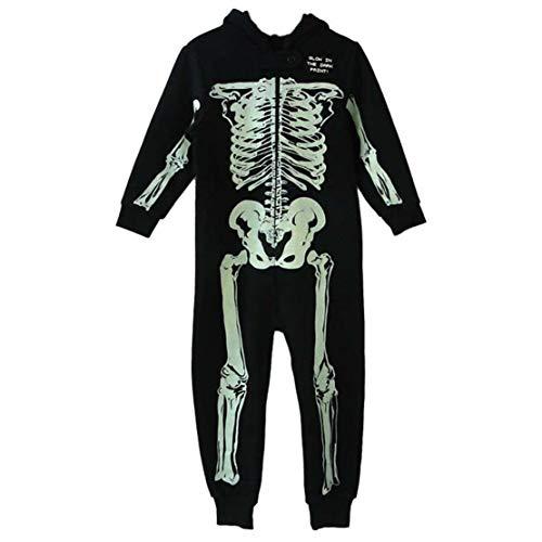 Gaga city Kostüm Skelett Kinder Junge Mädchen Overall Karneval Jumpsuit Einteiler Totenkopf Halloween