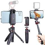 Mini trípode con soporte para smartphone, MT-08 Selfie Stick trípode y soporte para teléfono móvil para iPhone, Samsung, Huawei, YouTube, Tiktok, Vlogger, Content Creator e Influencer