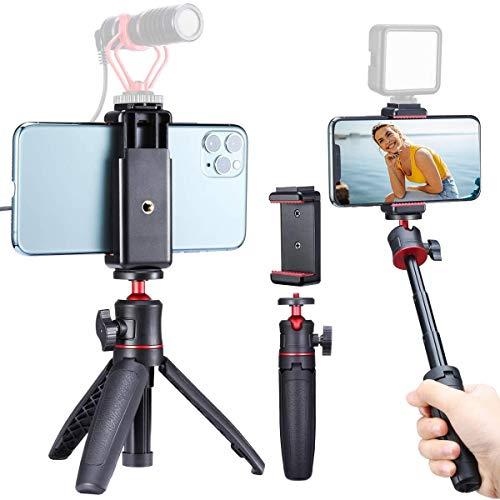 Mini Smartphone Selfie Stick Stativ mit Halterung Vlog Kit,MT-08 Kamera Stativ und ST-07 Handy Halter für iPhone Samsung Huawei YouTube Tiktok Vlogger und DSLR Sony Canon Fujifilm Kamera