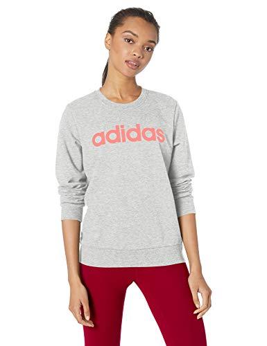 adidas Mujer Essentials Linear Sudadera con Capucha de Cuello Redondo, Gris Medio Heather/Core Rosa