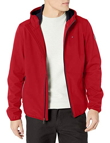 Tommy Hilfiger Men's Hooded Performance Soft Shell Jacket, red, Large